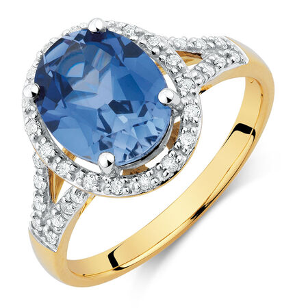 Ring with Created Sapphire & 0.20 Carat TW of Diamonds in 10ct Yellow & White Gold