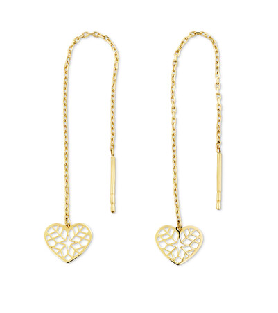 Heart Threader Earrings in 10ct Yellow Gold