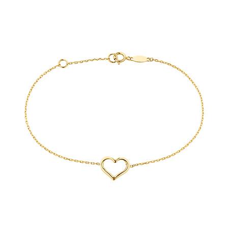 "19cm (7.5"") Heart Bracelet in 10ct Yellow Gold"