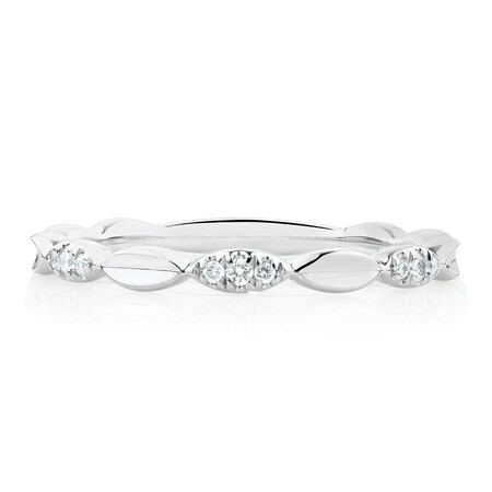 Marquise Stacker Ring with Diamonds in 10ct White Gold