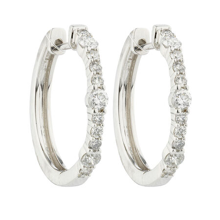 Online Exclusive - Huggie Earrings with 0.46 Carat TW of Diamonds in 10ct White Gold