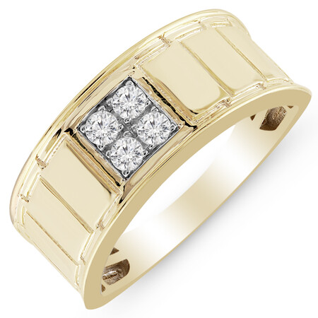 Ring with 0.25 Carat TW of Diamonds in 10ct Yellow Gold