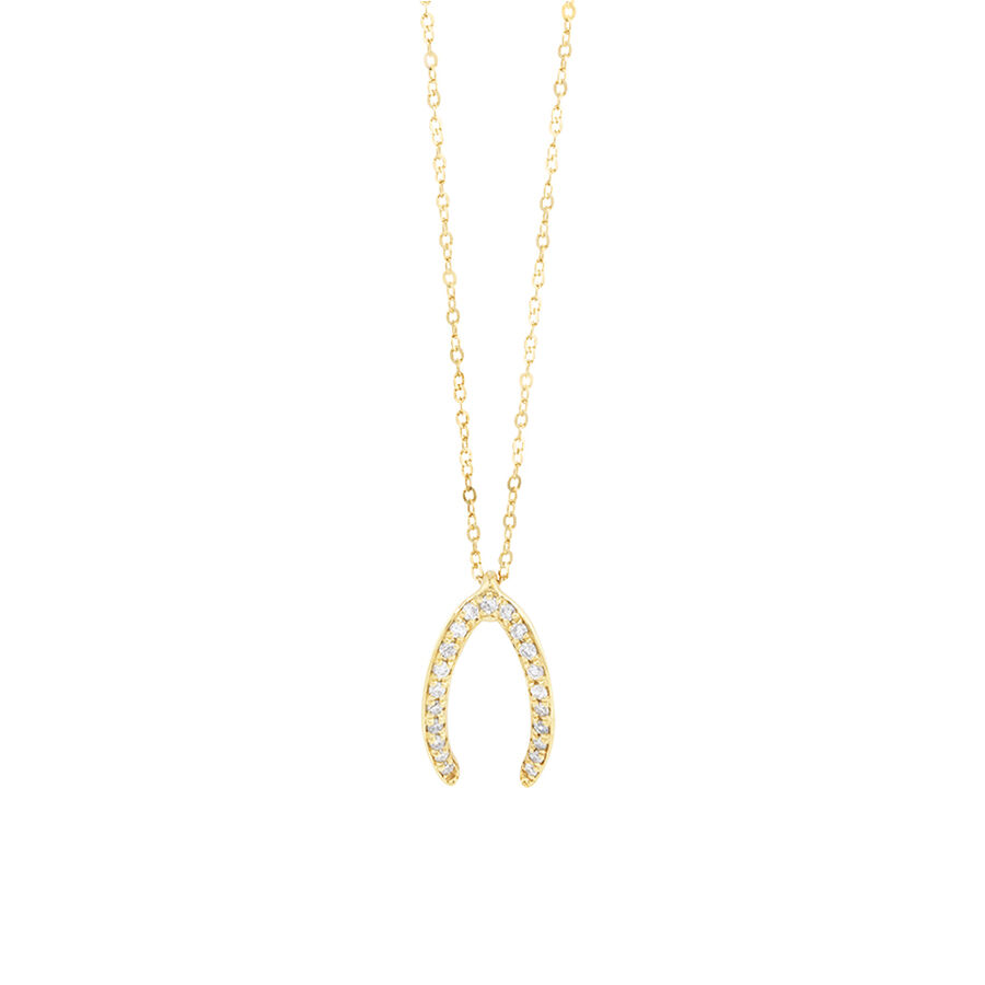 Mark Hill Wishbone Necklace with 0.08 Carat TW of Diamonds in 10ct Yellow Gold