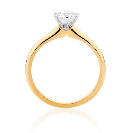 Certified Solitaire Engagement Ring with a 3/4 Carat TW Diamond in 18ct Yellow & White Gold
