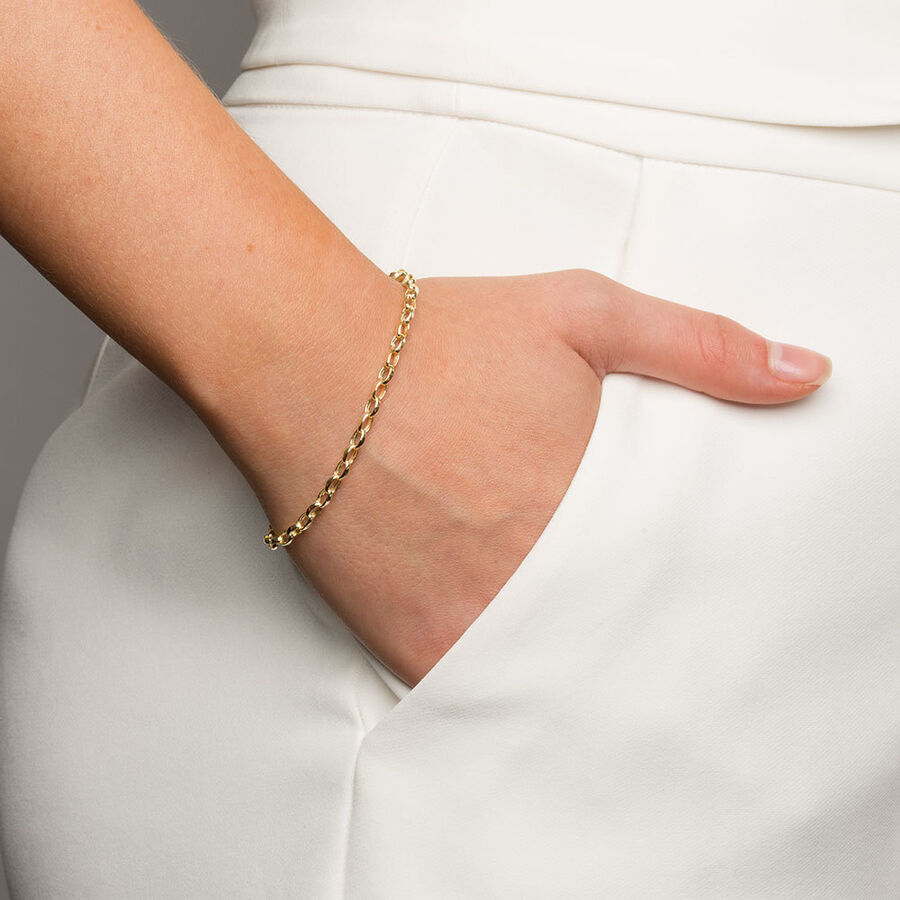 "19cm (7.5"") Belcher Bracelet in 10ct Yellow Gold"