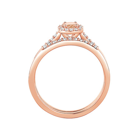 Evermore Bridal Set with Morganite & 0.20 Carat TW of Diamonds in 10ct Rose Gold