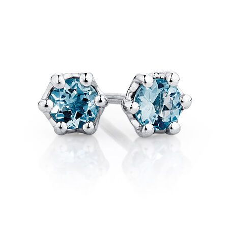 Stud Earrings with Aquamarine in Sterling Silver