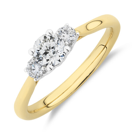 Southern Star 3 Stone Engagement Ring with 0.58 Carat TW of Diamonds in 14ct Yellow & Gold
