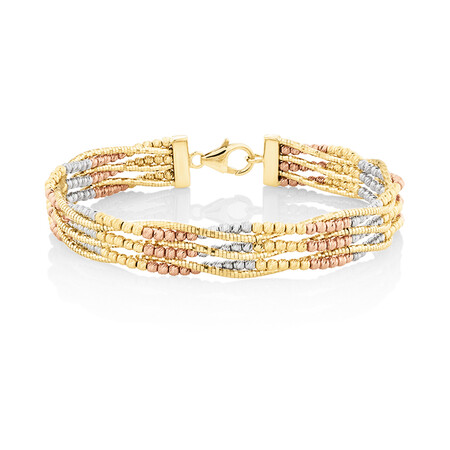 Beaded Bangle in 18ct Yellow, Rose & White Gold