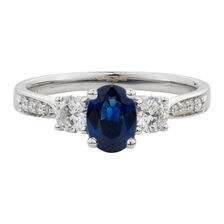 Online Exclusive - Ring with 0.51 Carat TW of Diamonds & Sapphire in 14ct White Gold
