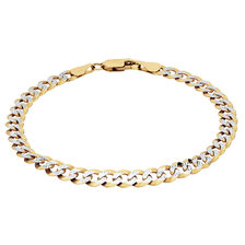 """19cm (7.5"""") Curb Bracelet in 10ct Yellow & White Gold"""