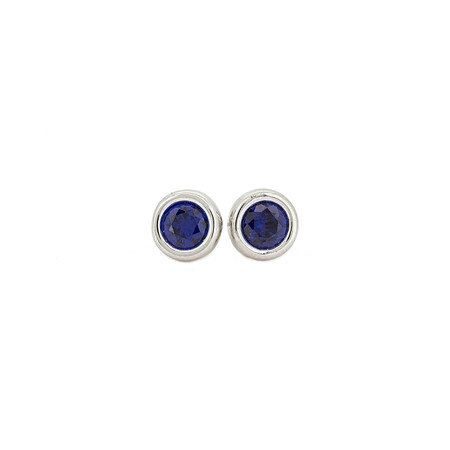 Circle Stud Earrings with Black Cubic Zirconia in Sterling Silver