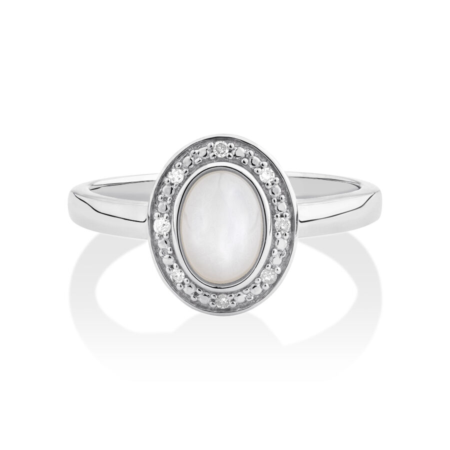 Halo Ring with Mother of Pearl & Diamonds in Sterling SIlver