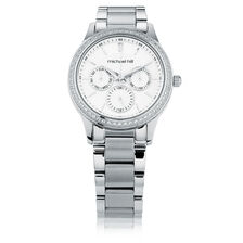 Ladies Multi-Function Watch with Cubic Zirconias & Mother of Pearl in Stainless Steel