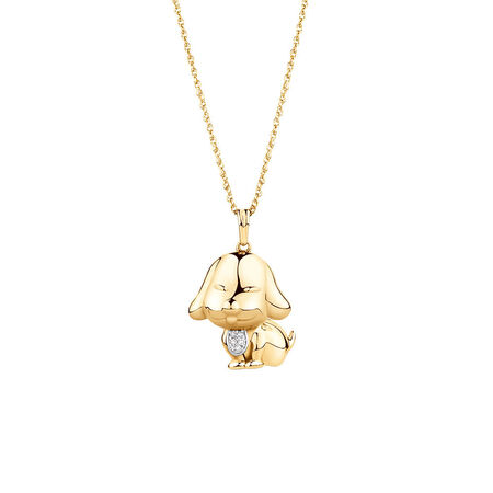 Dog Pendant with Diamonds in 10ct Yellow Gold