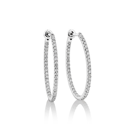 Oval Shape Hoop Earrings with 0.50ct TW of Diamonds in 10ct White Gold