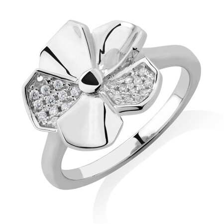 Flower Ring with White Cubic Zirconia in Sterling Silver