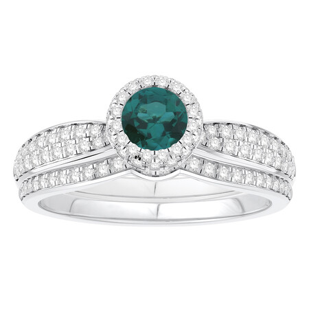 Bridal Set with Emerald & 0.52 Carat TW of Diamonds in 14ct White Gold