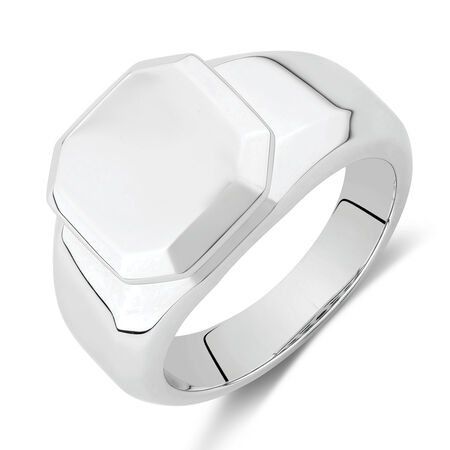 Square Edge Signet Ring in Stainless Steel
