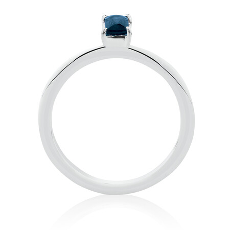 Ring with Created Blue Gemstone in Sterling Silver
