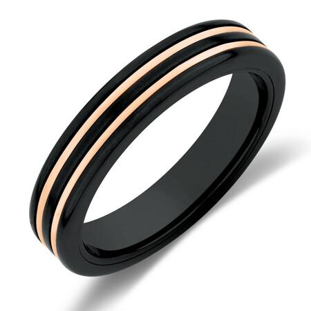 Ring in Black Titanium & 10ct Rose Gold