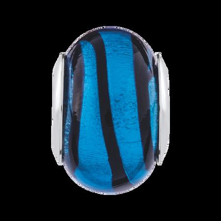 Blue & Black Murano Glass Charm