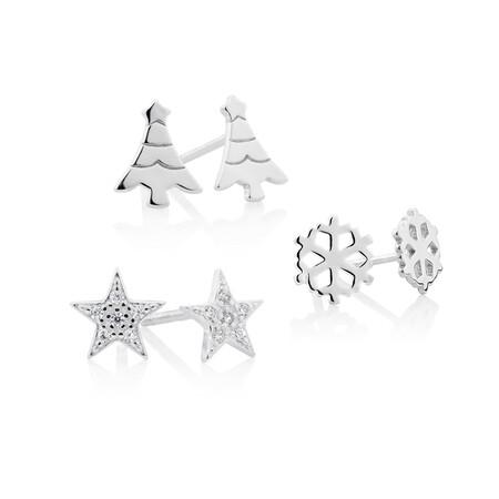 3 Pack Earring Set in Sterling Silver