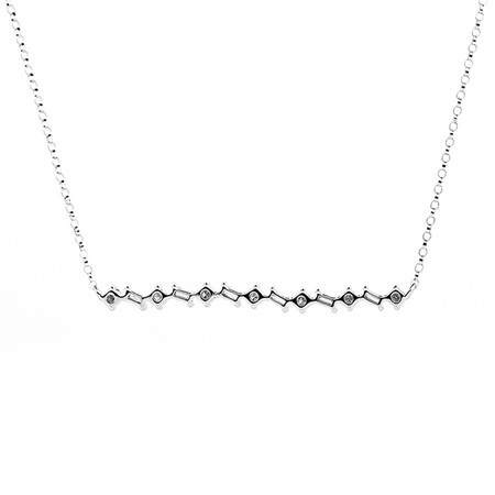 Fancy Necklace with 0.34 Carat TW of Diamonds in 10ct White Gold
