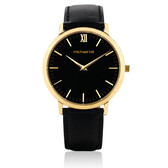 Ladies Watch in Black Leather & Stainless Steel