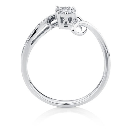 Engagement Ring with Diamonds in 10ct White Gold