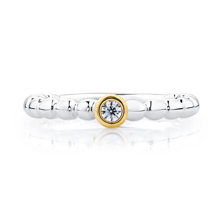 Cubic Zirconia, Sterling Silver & 10ct Yellow Gold Stacker Ring