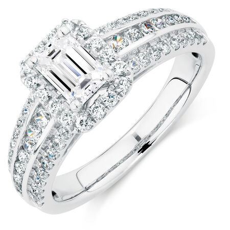 Engagement Ring with 1.18 Carat TW of Diamonds in 14ct White Gold
