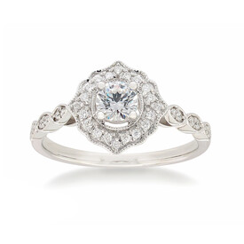 Vintage Ring with 0.50 Carat TW of Diamonds in 10ct White Gold