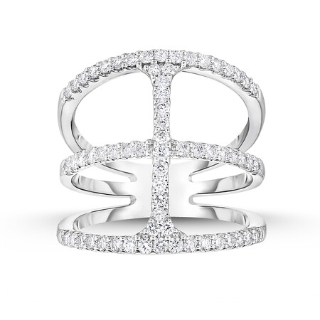Geometric Ring with 0.69 Carat TW of Diamonds in 14ct White Gold