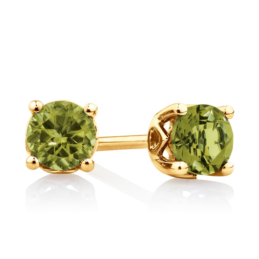 4mm Stud Earrings with Peridot in 10ct Yellow Gold