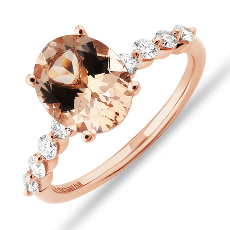 Ring with Morganite and 0.33 Carat TW of Diamonds in 10ct Rose Gold