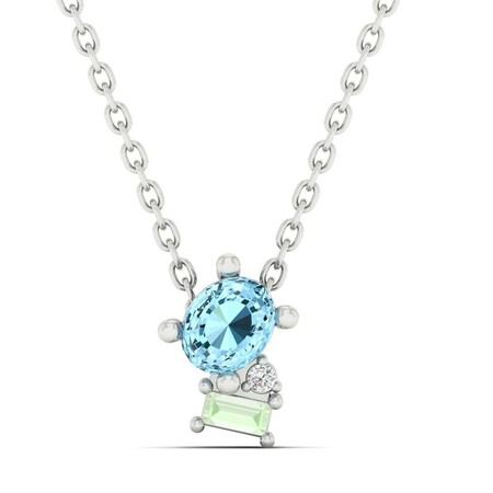 Pendant with Blue Topaz and Diamond in 10ct White Gold