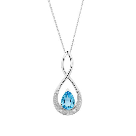 Pendant with Blue Topaz & Diamonds in 10ct White Gold