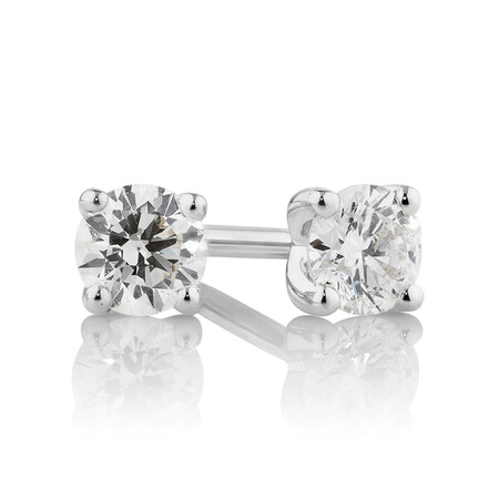 Stud Earrings with 0.25 Carat TW of Diamonds in 10ct White Gold