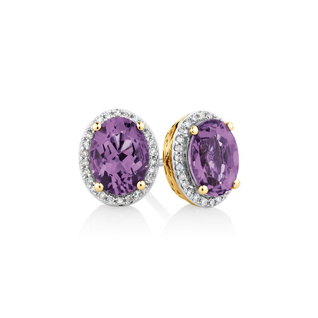 Earrings with Amethyst & 0.15 Carat TW of Diamonds in 10ct Yellow Gold