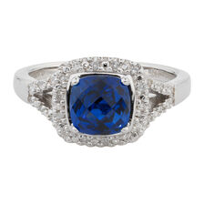 Online Exclusive - Ring with Created Sapphire & Diamonds in Sterling Silver
