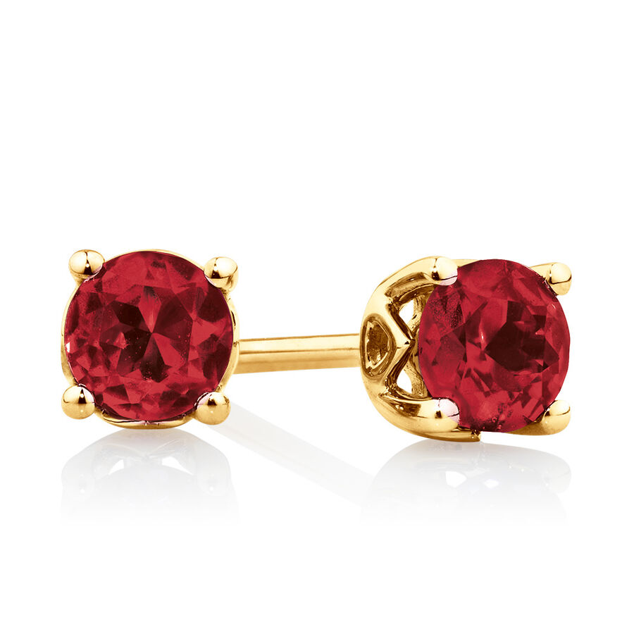 4mm Stud Earrings with Created Ruby in 10ct Yellow Gold