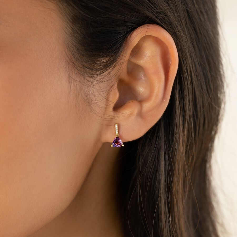 Amethyst Drop Earrings with 0.03 Diamonds in 10ct Yellow Gold