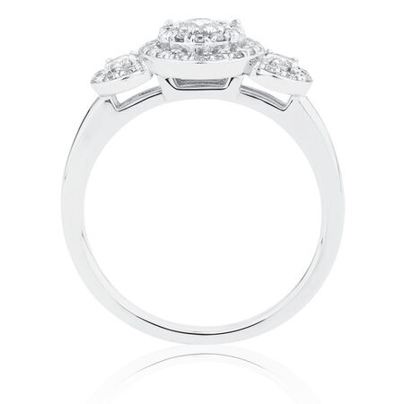 Engagement Ring with 0.58 Carat TW of Diamonds in 10ct White Gold