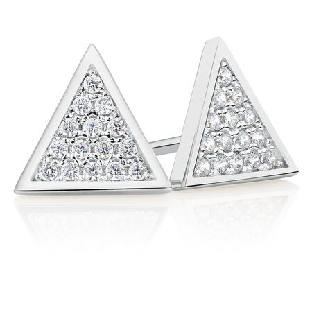 Stud Earrings with Cubic Zirconia in Sterling Silver