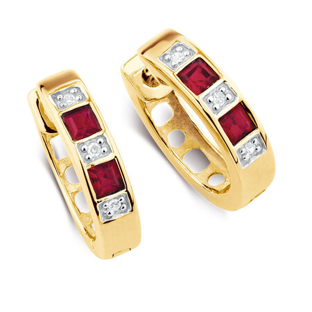 Hoop Earrings with Created Ruby & Diamonds in 10ct Yellow & White Gold