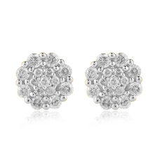 Cluster Stud Earrings with 0.50 Carat TW of Diamonds in 10ct Yellow Gold