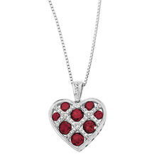 Online Exclusive - Pendant with Created Ruby & Diamonds in Sterling Silver