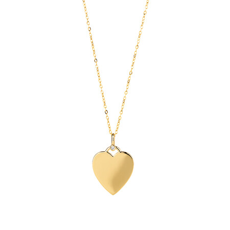 Heart Compass Pendant with Diamonds in 10ct Yellow Gold
