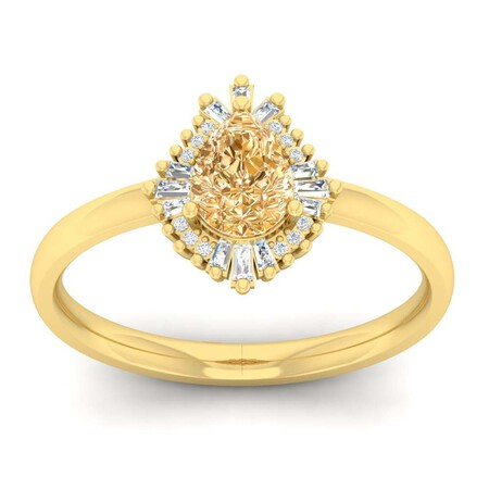 Ring with Spessartite & Diamond in 10ct Yellow Gold